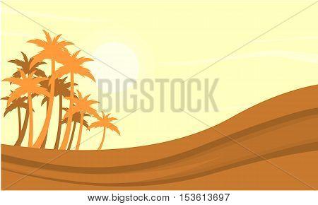 Silhouette of dessert and clump palm vetcor illustration