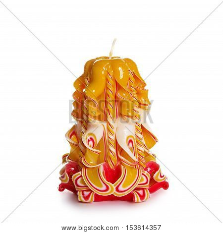 Carved Colored Candle On White Background