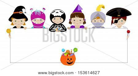 Vector horizontal banner with cute little kids in halloween costumes of witch, skeleton, monster, fairy and pirate behind white blank placard ready for your message.