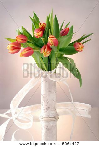 Bouquet of tulips in vase