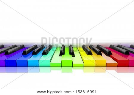 3d rendering of a piano with rainbow colored keys