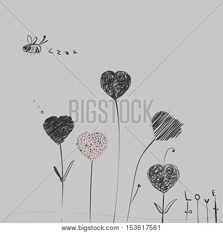 Heart-flowers on stalks. The dashed hand-drawing. Black and white