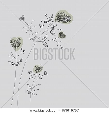Heart-flowers on stalks. The dashed hand-drawing.