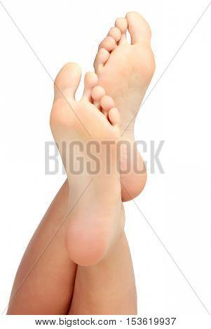 Female bare feet on white background poster