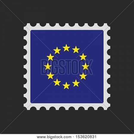 Isolated Mail Stamp Icon With  The Eu Flag Stars