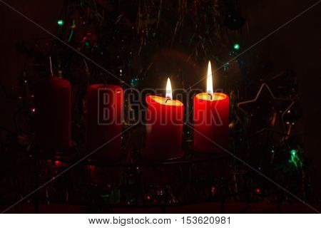 4. Advent / Advent wreath on dark background. Postcard.