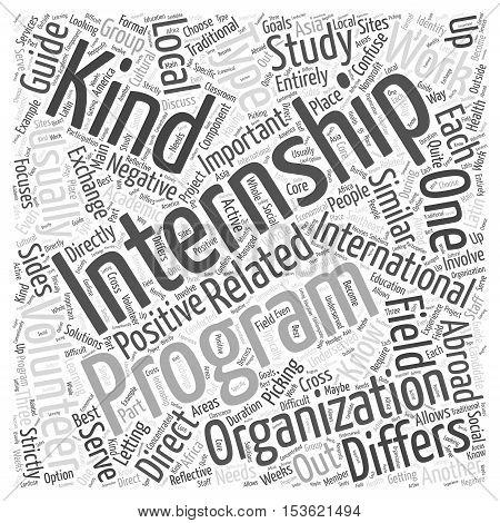 Types of International Internships word cloud concept