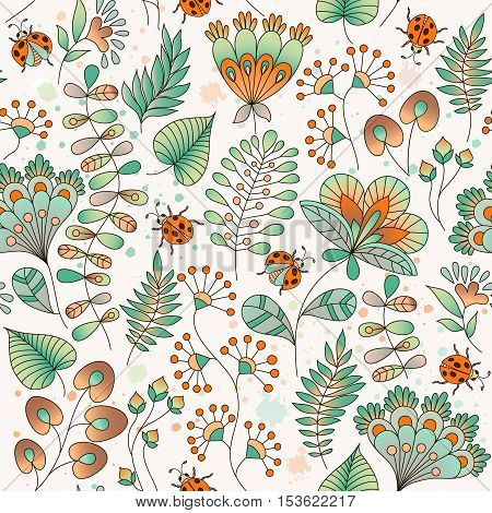 Seamless floral colorful vector pattern. Hand drawn different floral elements and ladybugs. Perfect for greetings invitations manufacture wrapping paper textile wedding and web design.
