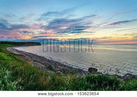 Sunset at Northumberland Strait near the Confederation Bridge mainland New Brunswick