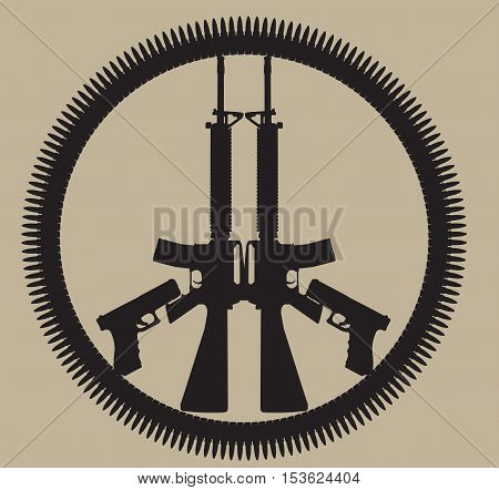 M-16 Gun and circle of bullets  in Peace sign, vector