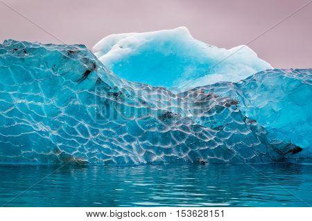 Closeup ot blue iceberg in cold lake Iceland