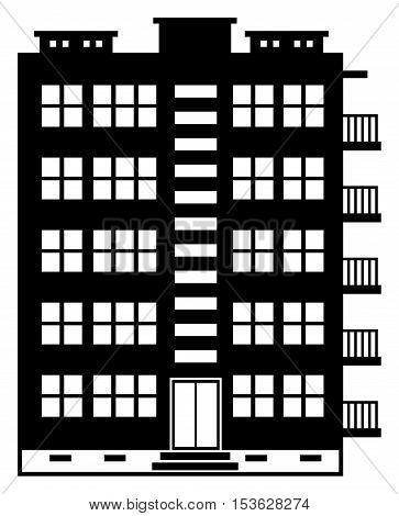 Many - storeyed apartment house, vector illustration