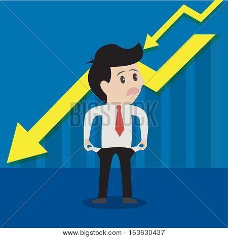Businessman is unhappy bad and empty pocket or on money.Vector illustration cartoon business concept.