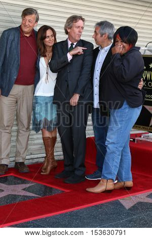 LOS ANGELES - OCT 25:  Stephen Fry, Diane Farr, Hugh Laurie, David Shore, Jean McClain aka Pepper MaShay at the Hugh Laurie Star Ceremony at the Hollywood Blvd. on October 25, 2016 in Los Angeles, CA