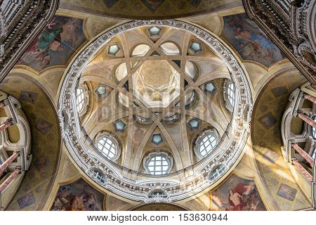 Turin, Italy - December 31, 2015: Royal Church of San Lorenzo interior in Turin Italy. The present church was designed and built by Guarino Guarini during 1668-1687.