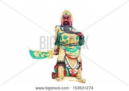 Statue kwnao on white background Chinese legend of the god's statue