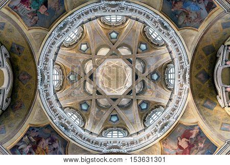 TURIN, ITALY - JUNE 3, 2016: Royal Church of San Lorenzo interior in Turin Italy. The present church was designed and built by Guarino Guarini during 1668-1687.