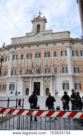 Palazzo Montecitorio Palace In Rome, Italy, The Seat Of The Italian Chamber Of Deputies