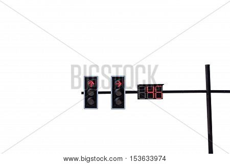 traffic light with red light on white background