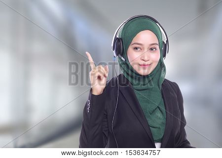 young women smiling helpline operator on blur background