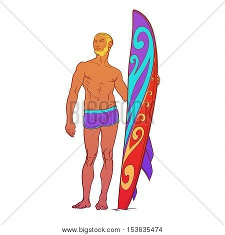 Summer water sport activities. Athletic shaped surfer wearing swimming brefs with decorated surfboard. Front view. Hand drawn painted sketch isolated on white background. EPS10 vector illustration.