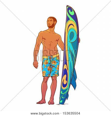 Summer water sport activities. Athletic shaped surfer wearing swimming shorts with decorated surfboard. Front view. Hand drawn painted sketch isolated on white background. EPS10 vector illustration.