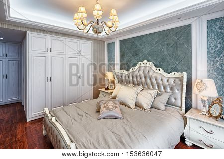 modern bedroom with comfortable bed