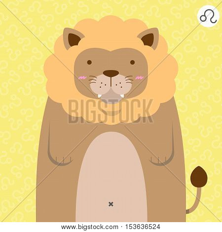cute big fat leo zodiac cartoon with their sign on color background