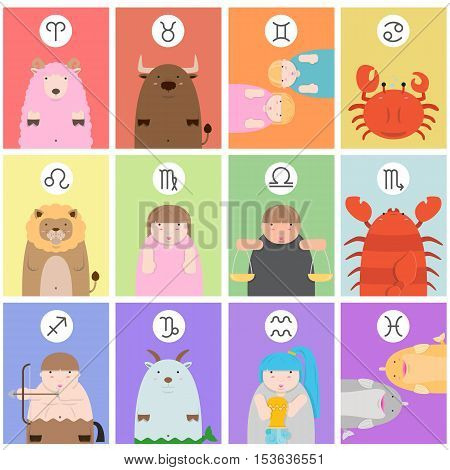 cute big fat twelve zodiac cartoon with their sign on color background