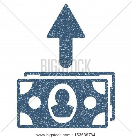 Spend Banknotes grainy textured icon for overlay watermark stamps. Flat symbol with dust texture. Dotted vector blue ink rubber seal stamp with grunge design on a white background.