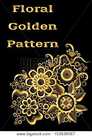 Abstract Background with Symbolical Gold Floral Patterns, Shining Colorful Ornament, Flowers and Leaves on Black. Eps10, Contains Transparencies. Vector