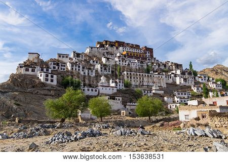 Ladakh India - August 8 2015: Thiksay Monastery is a gompa affiliated with the Gelug sect of Tibetan Buddhism. It is located on top of a hill in Thiksey village Leh in Ladakh India.