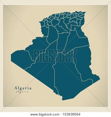 Modern Map - Algeria with provinces DZ Algeria vector