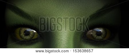 Closeup of green witch eyes 3D rendering.