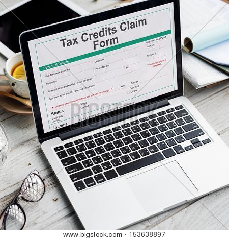 Tax Credits Claim Return Deduction Refund Concept