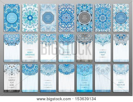 Vector vintage visiting card set. Floral mandala pattern and ornaments. Oriental design Layout. Merry chistmas and Happy New Year snowflakes blue cards. Front page and back page.