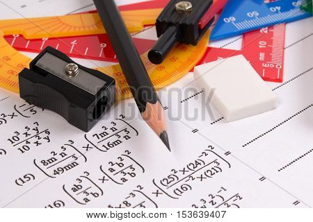 Math Quadratic Equation Concepts. School Supplies Used In Math. Math Drawing Tools With Math Equipme