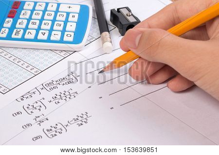 Mathematics, Math Equations Close-up. Math Homework Or Math Exams. Solving Mathematical Problem With