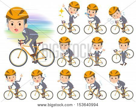 Gray Suit Businessman On Rode Bicycle