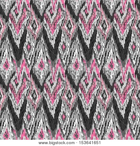 Ethnic Ikat Ornament Doodles Fabric Pattern Grey Pink