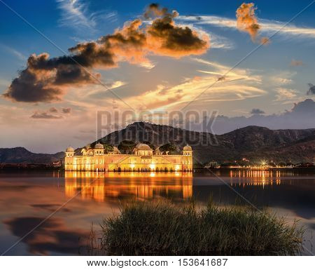 The Palace Jal Mahal At Sunrise. Jal Mahal (water Palace) On Man Sager Lake. Jaipur, Rajasthan, Indi