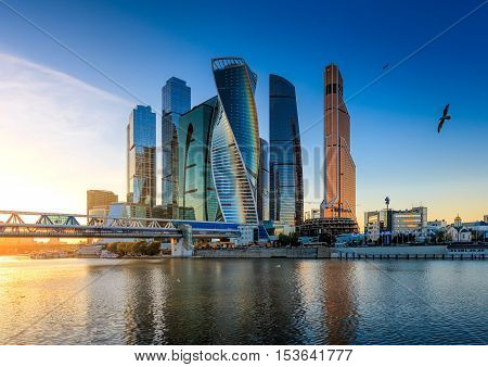 Moscow Russia - October 21 2015: Moscow City. View of skyscrapers Moscow International Business Center.