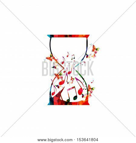 Music template vector illustration, colorful music notes inside hourglass, musical symbols and marks background. Music poster, brochure, banner, flyer, concert, music festival, music shop design