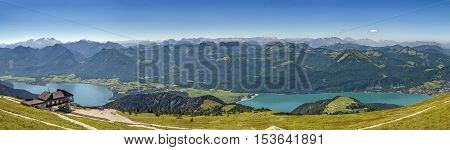 Panoramic view of Alps mountain with Wolfgangsee lake from Schafberg mountain Austria