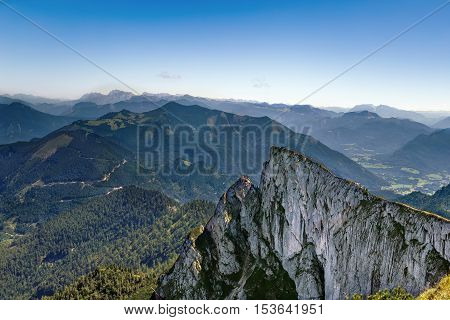 View of Alps mountain from Schafberg mountain Austria