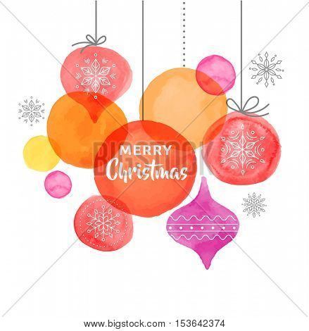 Christmas backgound with Christmas balls, watercolor vibrant colors Christmas decoration, Merry Christmas greeting card