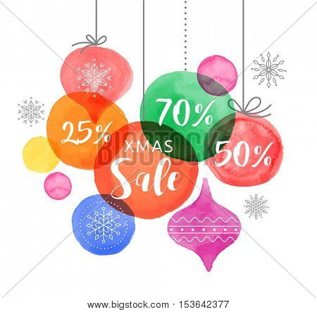 Christmas backgound with Christmas balls, watercolor vibrant colors Christmas decoration, Merry Christmas Sale poster
