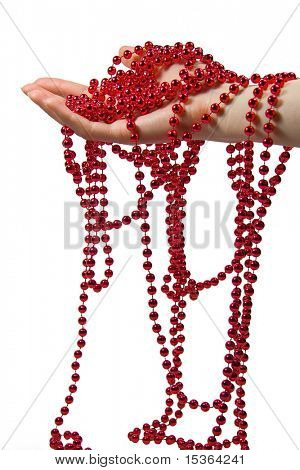 Glass beads on hand. poster