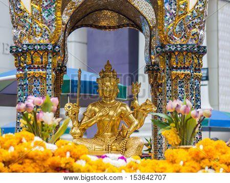 Thao Maha Brahma Erawan shrine, landmark in Bangkok Thailand poster