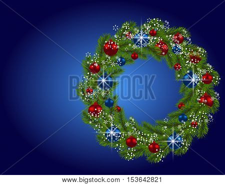 Holiday card. Christmas wreath. Green fir branches with red and blue balls on blue background. Christmas decorations. Vector illustration